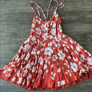 Kimchi blue red floral sun dress with open back